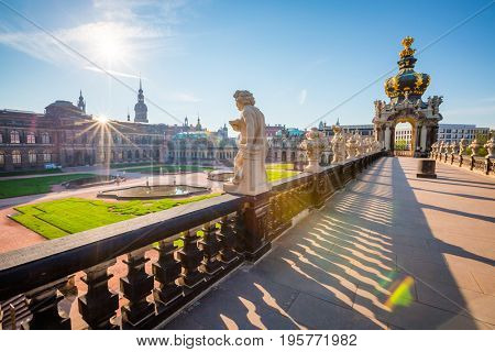 Nice image of the Der Zwinger museum complex built in Baroque style. Historical scene. Popular tourist attraction. Location place German city of Dresden, famous Saxony land, Europe. Beauty world.