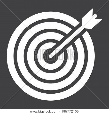 Target solid icon, business and dartboard, vector graphics, a glyph pattern on a black background, eps 10.