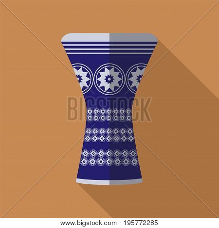 darbuka flat icon with long shadow. Vector icon for web graphic