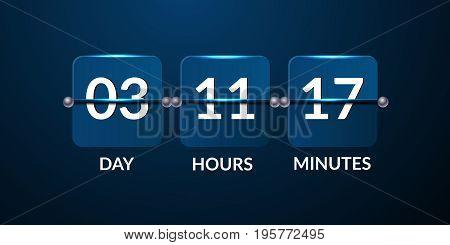 Flip Blue Countdown Timer Violet Design Vector Eps 10