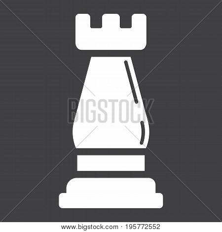 Strategic plan solid icon, business and rook chess, vector graphics, a glyph pattern on a black background, eps 10.