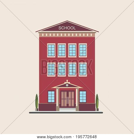 Classic low-rise school building front view. Colorful flat vector illustration
