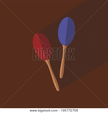 Maracas flat icon with long shadow Vector icon for web graphic
