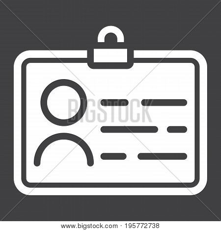 Identity solid icon, id and identification, vector graphics, a glyph pattern on a black background, eps 10.