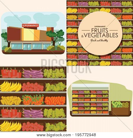 fruit and vegetables shelf with fresh healthy food in supermarket, big choice of organic products sale in food shop interior, store vector illustration.