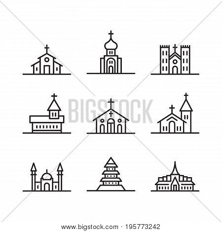 Set of vector icons of temples and churches of the major religions, Islam, Christianity, Judaism, Buddhism. Vector icons of Church buildings isolated on white background
