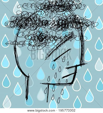 Sad man in tears, depression vector illustration