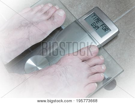 Man's Feet On Weight Scale - Time For Gym