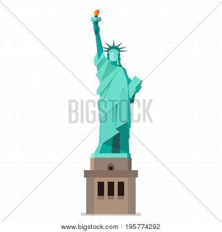 Statue of liberty in flat style. Isolated on white background Vector illustration