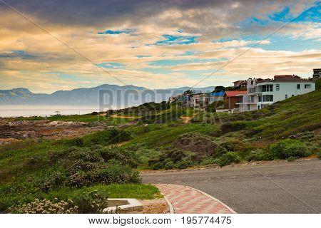 Rocky Coast Line On The Ocean At De Kelders, South Africa, Famous For Whale Watching. Winter Season,