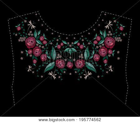 Satin stitch embroidery design with flowers. Folk line floral trendy pattern for dress collar. Ethnic fashion ornament for neck on black background. Colorful vector illustration