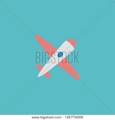 Flat Icon Airplane Element. Vector Illustration Of Flat Icon Aircraft Isolated On Clean Background