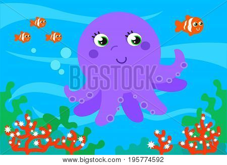 Cute cartoon clown fishes and octopus underwater, vector illustration