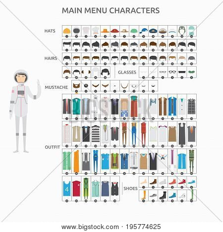 Character Creation Astronout   set of vector character illustration use for human, profession, business, marketing and much more.The set can be used for several purposes like: websites, print templates, presentation templates, and promotional materials.