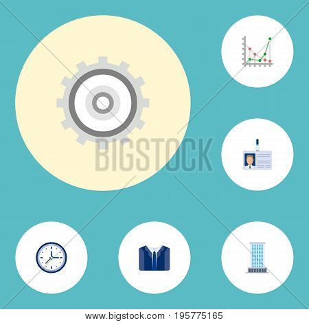 Flat Icons Costume, Diagram, Cogwheel And Other Vector Elements
