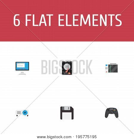 Flat Icons Hard Disk, Slot Machine, Diskette And Other Vector Elements
