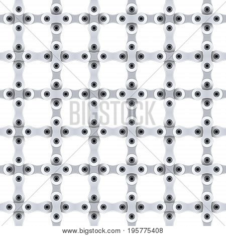 Seamless pattern of gray metal bicycle chain. Vector illustration