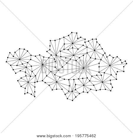 Kazakhstan map of polygonal mosaic lines network rays and dots vector illustration.