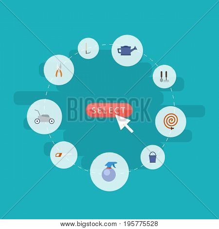 Flat Icons Garden Hose, Bucket, Watering Can And Other Vector Elements