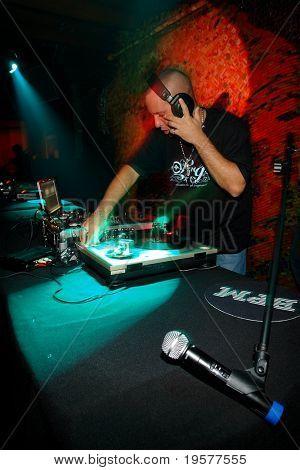 DJ spinning on stage