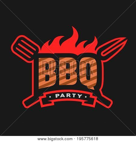 Barbecue party logo, emblem, on a dark background