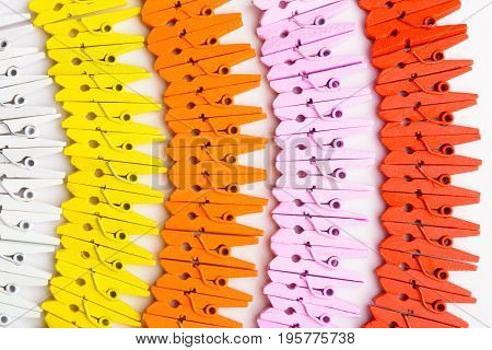 A Variety Of Colorful Wooden Pins Over White Background