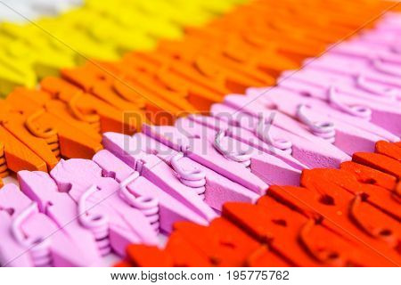 Background Of Colorful Wooden Small Pegs Lines