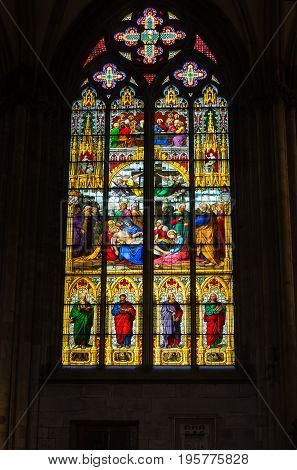 COLOGNE, GERMANY - FEBRUARY 22, 2016: Stained-glass window of Cologne Cathedral (officially High Cathedral of Saint Peter) a Roman Catholic cathedral in Cologne Germany