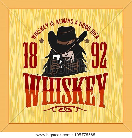 Vintage Whiskey Label with Girl - T-shirt Graphic. Vector stock illustration on light background