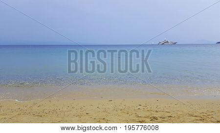 Beautiful beach on Skiathos island in Greece summer day in June