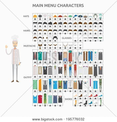 Character Creation Chef   set of vector character illustration use for human, profession, business, marketing and much more.The set can be used for several purposes like: websites, print templates, presentation templates, and promotional materials.