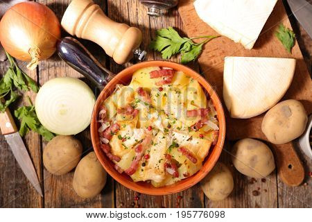 tartiflette, french cuisine with potato,bacon and cheese
