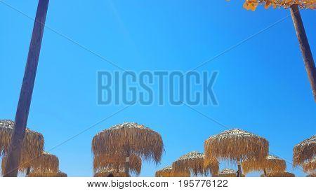 Sky view on a beautiful beach Skiathos island Greece umbrellas and summer day
