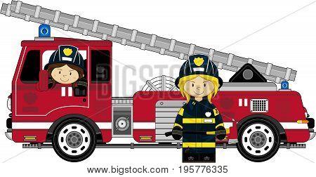 Girl Fireman & Fire Engine
