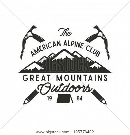 Climbing t-shirt design. Hand drawn vintage alpine label with texts, silhouett mountain, climb equipment. Letterpress effect. Vector hipster design.