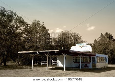 Abandoned classic american drive-in diner restaurant