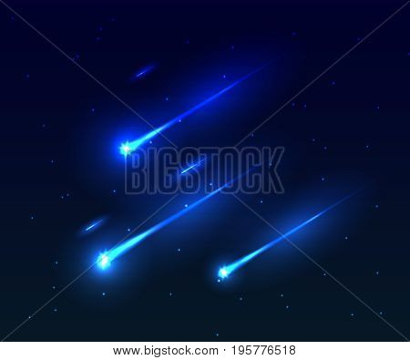 Vector illustration of three comet in the starry space sky. Falling comet vector