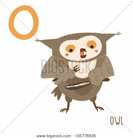 Vector kids illustration of cute animal alphabet. Letter O for the Owl and Omelet. Cartoon owl bird holding pork and pan with omelet isolated on white background for child illustration, baby shower, birtday card, invitiation, T-shirt. Preschool and school