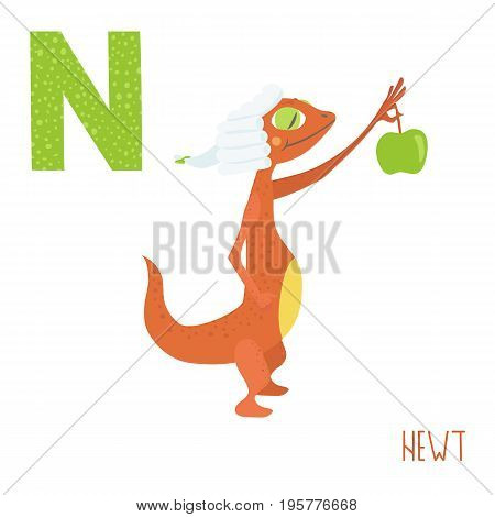 Vector kids illustration of cute animal alphabet. Letter N for the Newt and Newton. Cartoon newt holding apple for Newton's law experiment isolated on white background for child illustration, baby shower, birtday card, invitiation, T-shirt. Preschool and