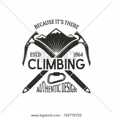 Vintage climbing badge. Climbing logo, vintage emblem. Climb gear - carabiner and text. Retro t shirt design. Old style illustration. Climbing insignia.