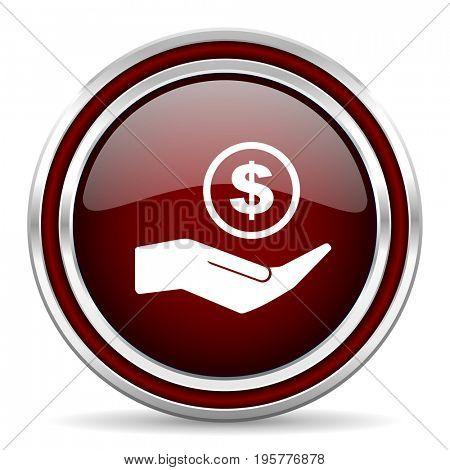 Save money red glossy icon. Chrome border round web button. Silver metallic pushbutton.