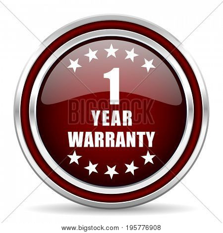 Warranty guarantee 1 year red glossy icon. Chrome border round web button. Silver metallic pushbutton.