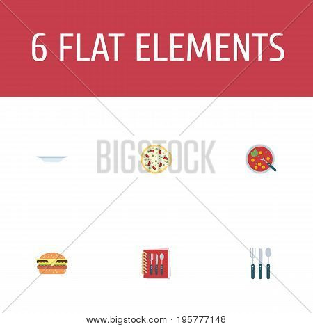 Flat Icons Cooking Notebook, Broth, Fast Food And Other Vector Elements