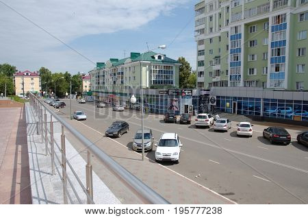 Saransk, Russia - July 17, 2017: View on a Leo Tolstoy street in Saransk.