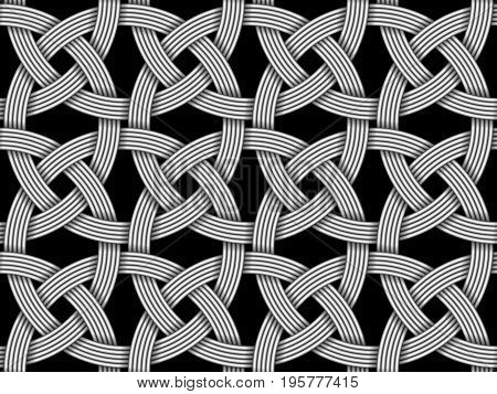 Seamless decorative pattern of intersected fiber. Vector Illustration