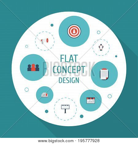 Flat Icons Customer Summary, Megaphone, Audience And Other Vector Elements