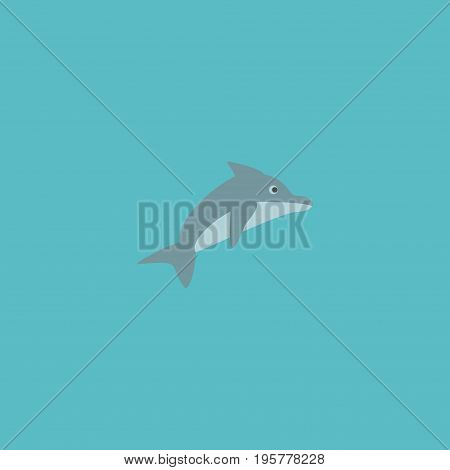 Flat Icon Dolphin Element. Vector Illustration Of Flat Icon Playful Fish Isolated On Clean Background