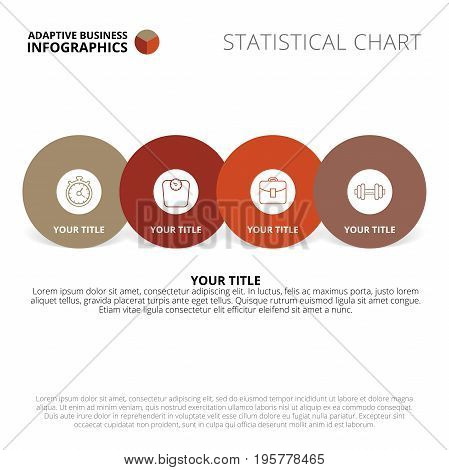 Circle process chart template with four steps, icons, titles and sample text, multicolored version