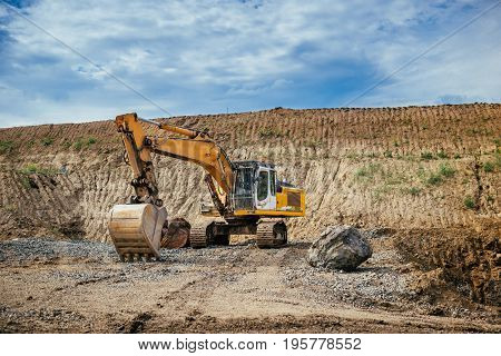Highway Construction Site Details - Engineer Working With Excavator And Loading Gravel, Soil And Ear