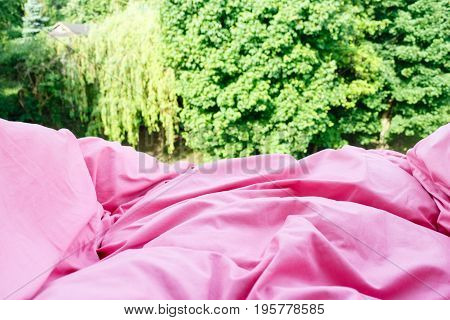Detailed Closeup Of Pink Quilt Bedding